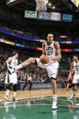 Rudy Gobert of the Utah Jazz grabs a rebound against the Toronto Raptors at EnergySolutions Arena on February 03 2014 in Salt Lake City Utah NOTE TO...