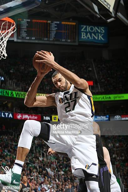 Rudy Gobert of the Utah Jazz grabs the rebound against the Phoenix Suns on December 31 2016 at vivintSmartHome Arena in Salt Lake City Utah NOTE TO...