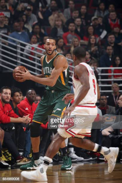 Rudy Gobert of the Utah Jazz handles the ball against the Chicago Bulls on March 18 2017 at the United Center in Chicago Illinois NOTE TO USER User...