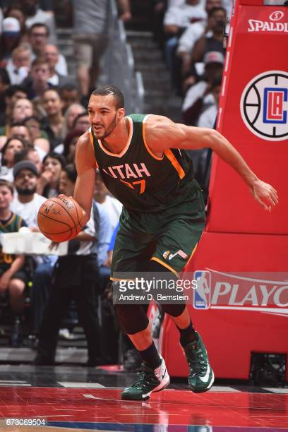 Rudy Gobert of the Utah Jazz handles the ball against the LA Clippers in Game Five of the Western Conference Quarterfinals of the 2017 NBA Playoffs...