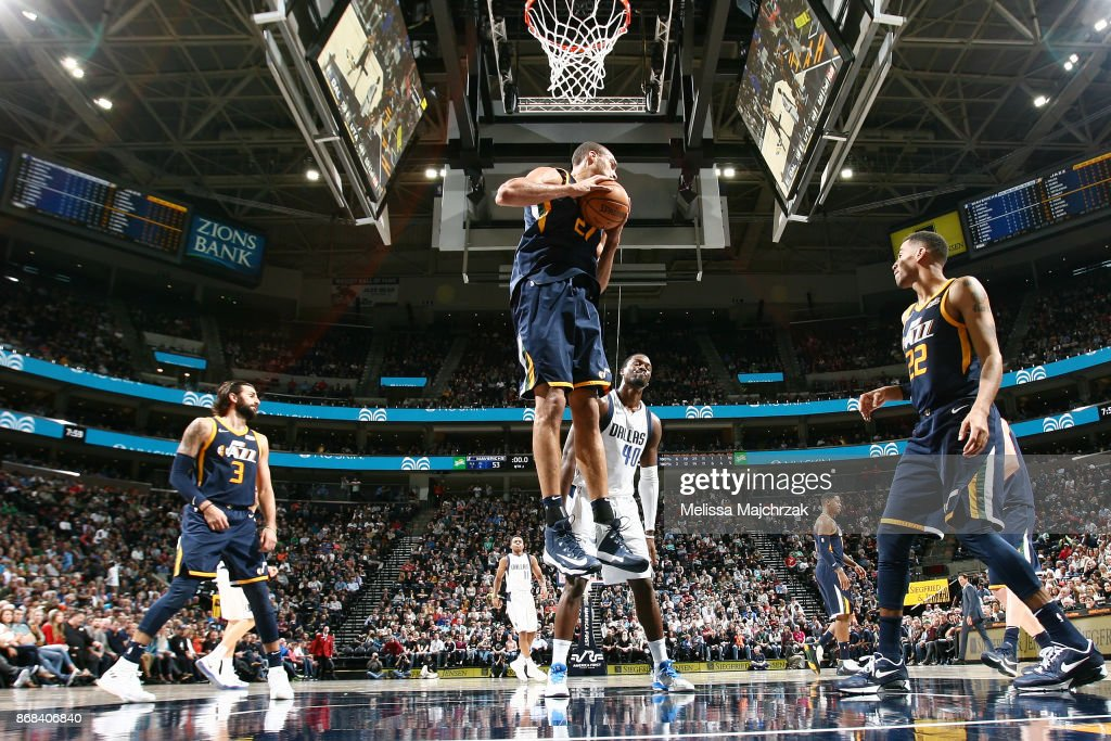 Rudy Gobert #27 of the Utah Jazz handles the ball against the Dallas Mavericks on October 30, 2017 at Vivint Smart Home Arena in Salt Lake City, Utah.