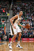 Rudy Gobert of the Utah Jazz handles the ball against the Houston Rockets on March 12 2015 at EnergySolutions Arena in Salt Lake City Utah NOTE TO...