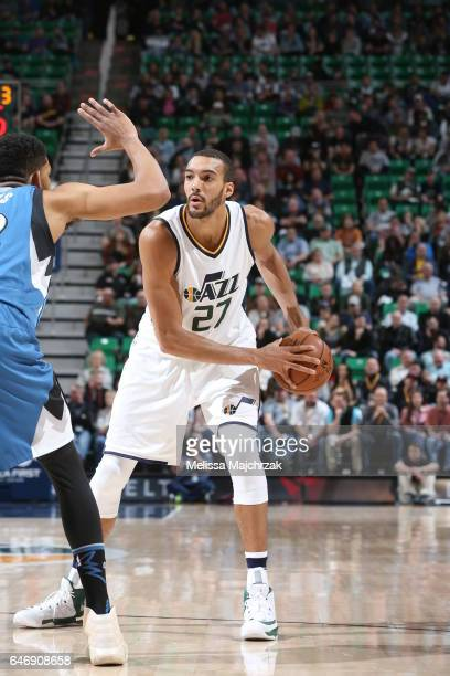 Rudy Gobert of the Utah Jazz handles the ball against the Minnesota Timberwolves on March 1 2017 at vivintSmartHome Arena in Salt Lake City Utah NOTE...