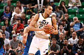 Rudy Gobert of the Utah Jazz handles the ball against the Oklahoma City Thunder on March 28 2015 at EnergySolutions Arena in Salt Lake City Utah NOTE...