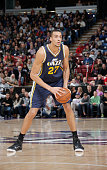 Rudy Gobert of the Utah Jazz handles the ball against the Sacramento Kings on December 8 2014 at Sleep Train Arena in Sacramento California NOTE TO...