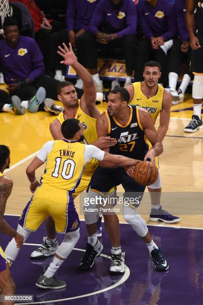 Rudy Gobert of the Utah Jazz handles the ball during the preseason game against the Los Angeles Lakers on October 10 2017 at STAPLES Center in Los...