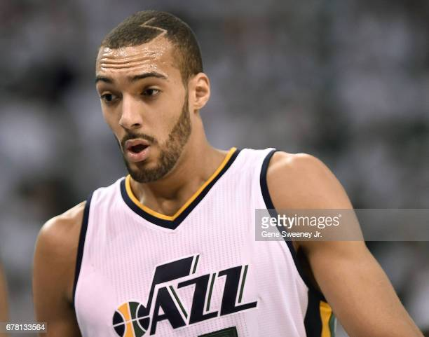 Rudy Gobert of the Utah Jazz heads to the bench during the first half against the Los Angeles Clippers in Game Four of the Western Conference...