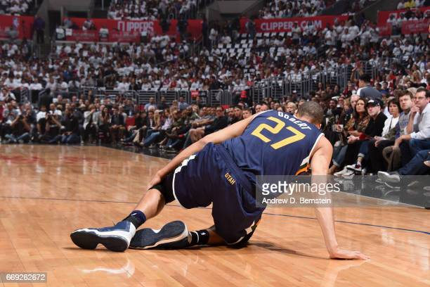 Rudy Gobert of the Utah Jazz hurt his leg during the game against the Los Angeles Clippers in Game One of Round One during the 2017 NBA Playoffs on...
