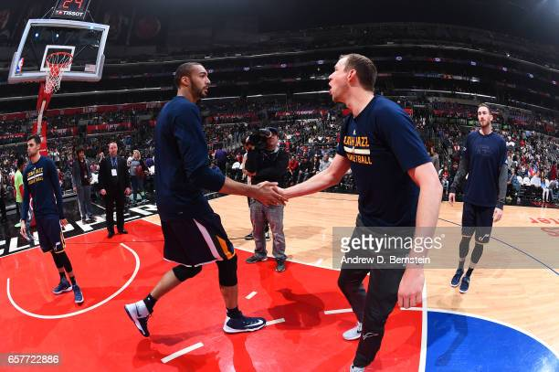 Rudy Gobert of the Utah Jazz is introduced before a game against the LA Clippers on March 25 2017 at STAPLES Center in Los Angeles California NOTE TO...