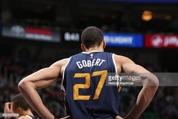 Rudy Gobert of the Utah Jazz is seen against the Oklahoma City Thunder on January 23 2017 at vivintSmartHome Arena in Salt Lake City Utah NOTE TO...