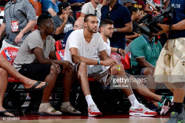 Rudy Gobert of the Utah Jazz is seen at the game between the Utah Jazz and the Los Angeles Clippers during the 2017 Las Vegas Summer League on July 9...