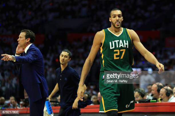 Rudy Gobert of the Utah Jazz leaves the game after his third foul during the first half of Game Seven of the Western Conference Quarterfinals against...