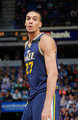 Rudy Gobert of the Utah Jazz looks on during the game against the Sacramento Kings on April 5 2015 at Sleep Train Arena in Sacramento California NOTE...