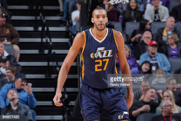 Rudy Gobert of the Utah Jazz looks on during the game against the Sacramento Kings on March 5 2017 at Golden 1 Center in Sacramento California NOTE...