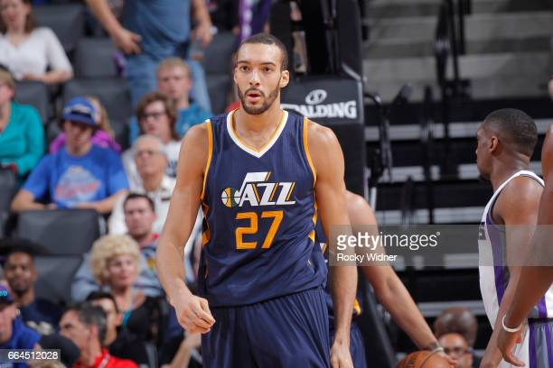 Rudy Gobert of the Utah Jazz looks on during the game against the Sacramento Kings on March 29 2017 at Golden 1 Center in Sacramento California NOTE...
