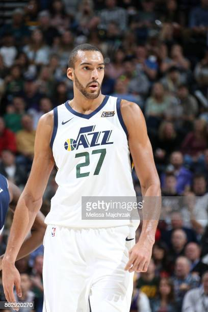Rudy Gobert of the Utah Jazz looks on during the season game against the Denver Nuggets on October 18 2017 at Vivint Smart Home Arena in Salt Lake...