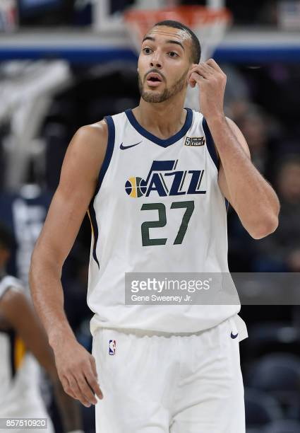 Rudy Gobert of the Utah Jazz looks on during their game against the Sydney Kings at Vivint Smart Home Arena on October 2 2017 in Salt Lake City Utah...
