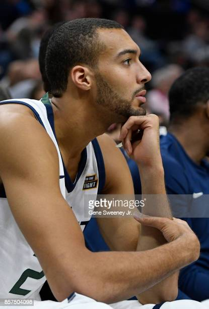 Rudy Gobert of the Utah Jazz looks on from the bench during their game against the Sydney Kings at Vivint Smart Home Arena on October 2 2017 in Salt...