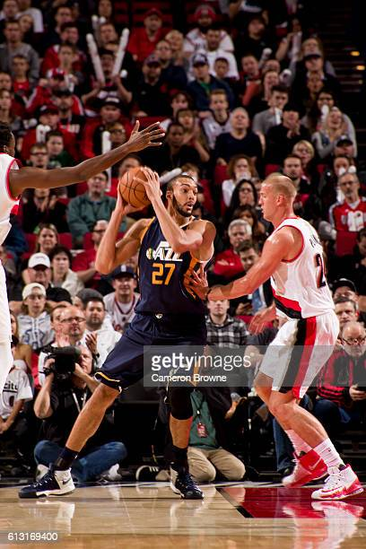 Rudy Gobert of the Utah Jazz looks to pass against the Portland Trail Blazers on October 3 2016 at the Moda Center Arena in Portland Oregon NOTE TO...