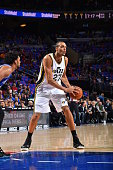 Rudy Gobert of the Utah Jazz looks to pass the ball against Philadelphia 76ers at Wells Fargo Center on October 30 2015 in Philadelphia Pennsylvania...