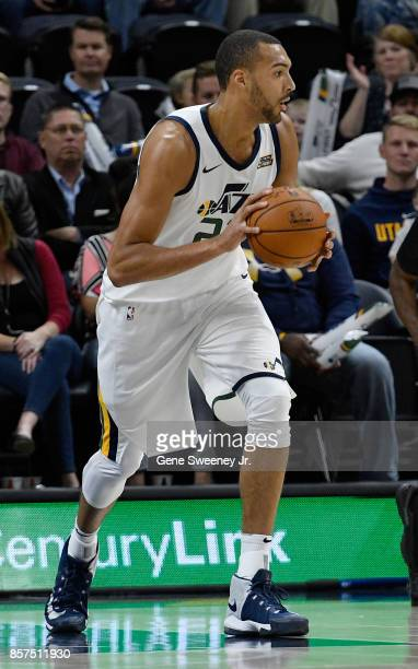 Rudy Gobert of the Utah Jazz looks to pass the ball against the Sydney Kings at Vivint Smart Home Arena on October 2 2017 in Salt Lake City Utah NOTE...