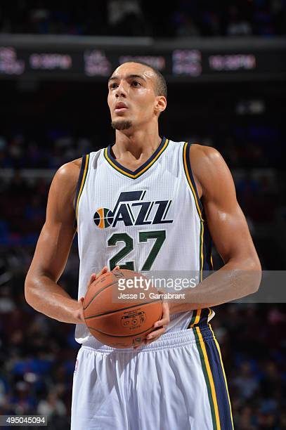 Rudy Gobert of the Utah Jazz looks to shoot a foul shot against the Philadelphia 76ers at Wells Fargo Center on October 30 2015 in Philadelphia...