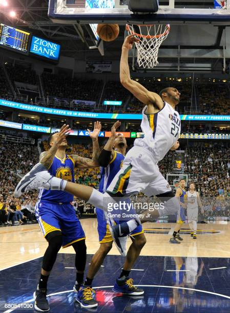 Rudy Gobert of the Utah Jazz misses a second half basket in their 12195 loss to the Golden State Warriors in Game Four of the Western Conference...