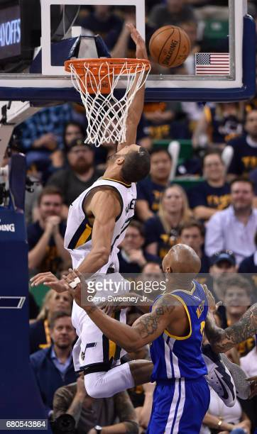 Rudy Gobert of the Utah Jazz misses this second half basket while being defended by David West of the Golden State Warriors in the 12195 loss by the...