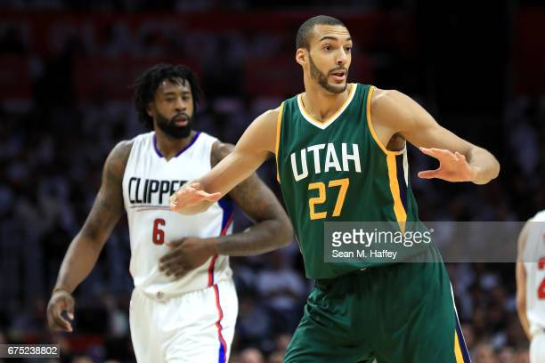 Rudy Gobert of the Utah Jazz motions after recieving a foul during the second half of Game Seven of the Western Conference Quarterfinals as DeAndre...