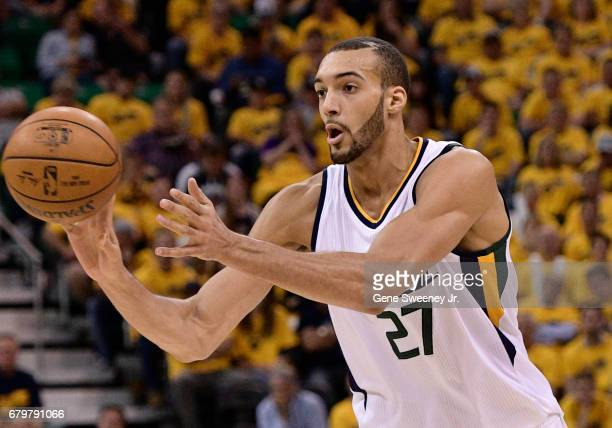 Rudy Gobert of the Utah Jazz passes the ball in the first half against the Golden State Warriors in Game Three of the Western Conference Semifinals...
