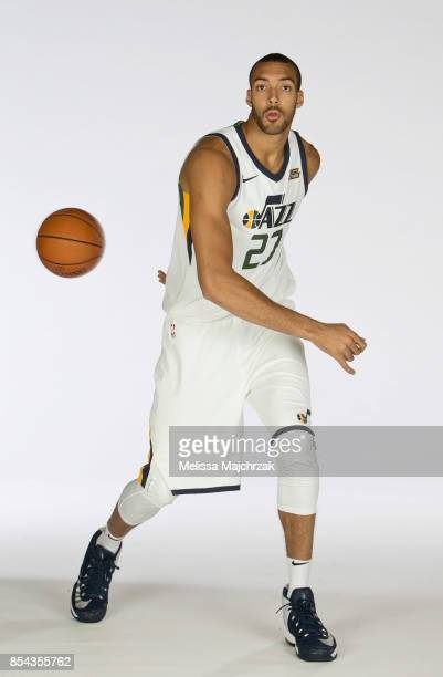 Rudy Gobert of the Utah Jazz poses for a photo during media day at Zions Bank Basketball Center on September 25 2017 in Salt Lake City Utah NOTE TO...