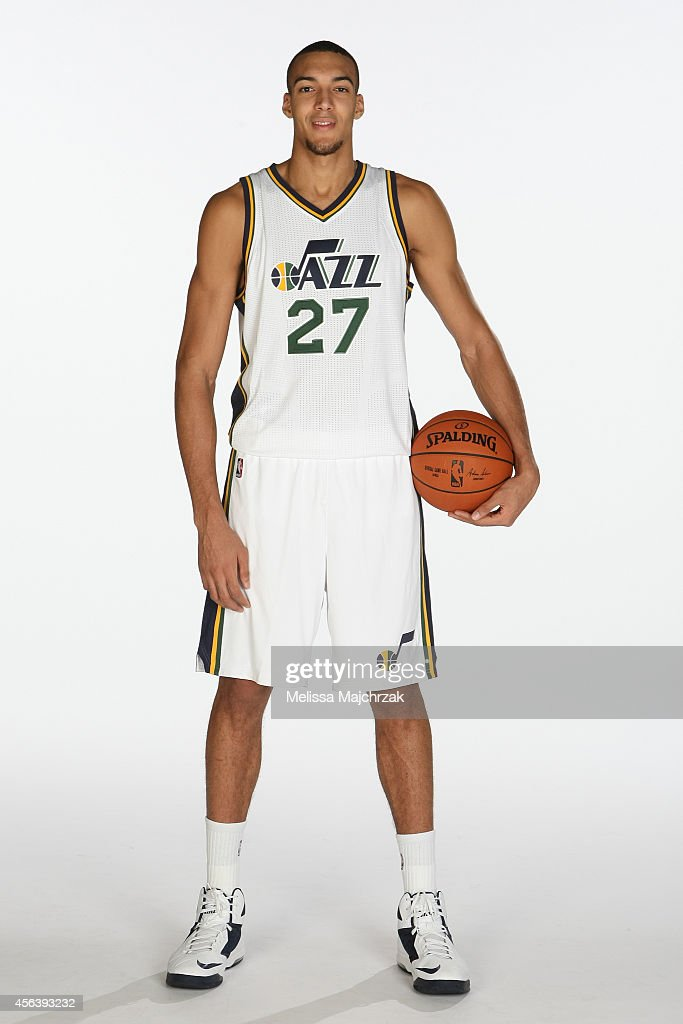 <a gi-track='captionPersonalityLinkClicked' href=/galleries/search?phrase=Rudy+Gobert&family=editorial&specificpeople=7616046 ng-click='$event.stopPropagation()'>Rudy Gobert</a> #27 of the Utah Jazz poses for a photo during the 2014 NBA Jazz Media Day at Zions Basketball Center on September 29, 2014 in Salt Lake City, Utah.