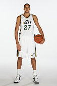 Rudy Gobert of the Utah Jazz poses for a photo during the 2014 NBA Jazz Media Day at Zions Basketball Center on September 29 2014 in Salt Lake City...