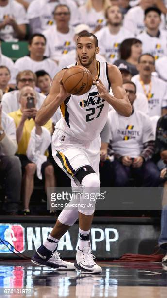 Rudy Gobert of the Utah Jazz prepares to pass the ball in the first half against the Los Angeles Clippers in Game Four of the Western Conference...