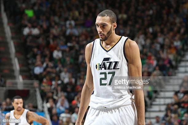 Rudy Gobert of the Utah Jazz reacts to a play against the Cleveland Cavaliers during the game on January 10 2017 at vivintSmartHome Arena in Salt...
