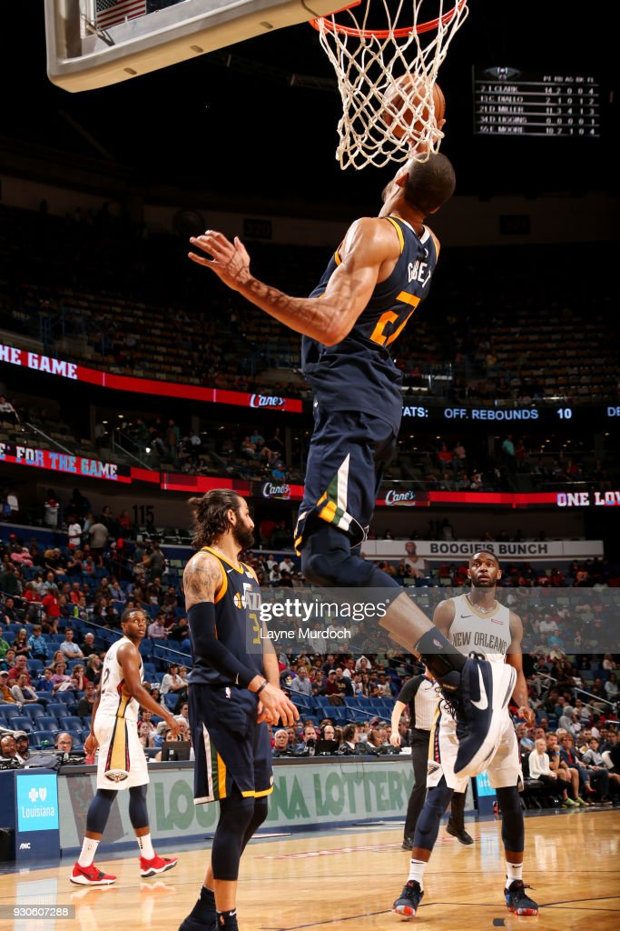 Rudy Gobert #27 of the Utah Jazz rebounds the ball during the game against the New Orleans Pelicans on March 11, 2018 at the Smoothie King Center in New Orleans, Louisiana.