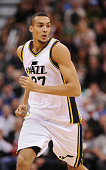Rudy Gobert of the Utah Jazz runs up court during their game against the Cleveland Cavaliers at EnergySolutions Arena on November 5 2014 in Salt Lake...