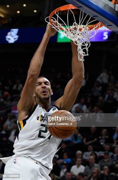 Rudy Gobert of the Utah Jazz scores against the Sydney Kings at Vivint Smart Home Arena on October 2 2017 in Salt Lake City Utah NOTE TO USER User...