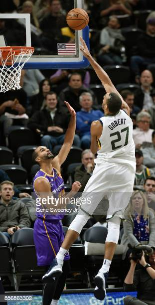 Rudy Gobert of the Utah Jazz scores over Perry Ellis of the Sydney Kings in the second half of the 10883 win by the Jazz in their preseason game at...