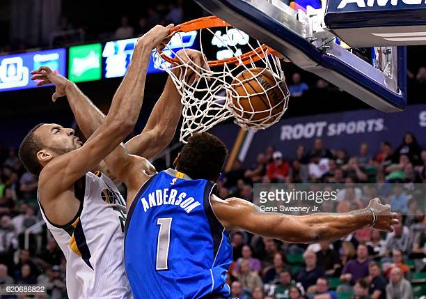 Rudy Gobert of the Utah Jazz scores over the defense of Justin Anderson of the Dallas Mavericks in the second half of the 9781 win by the Jazz at...
