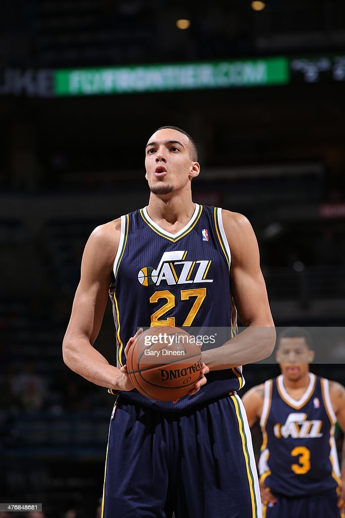 <a gi-track='captionPersonalityLinkClicked' href=/galleries/search?phrase=Rudy+Gobert&family=editorial&specificpeople=7616046 ng-click='$event.stopPropagation()'>Rudy Gobert</a> #27 of the Utah Jazz shoots a free throw against the Milwaukee Bucks on March 3, 2014 at the BMO Harris Bradley Center in Milwaukee, Wisconsin.