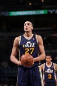 Rudy Gobert of the Utah Jazz shoots a free throw against the Milwaukee Bucks on March 3 2014 at the BMO Harris Bradley Center in Milwaukee Wisconsin...