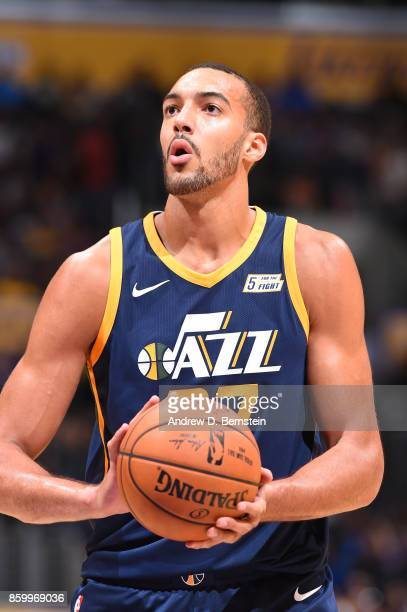 Rudy Gobert of the Utah Jazz shoots a free throw against the Los Angeles Lakers during a preseason game on October 10 2017 at STAPLES Center in Los...