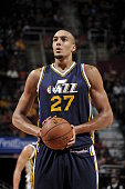 Rudy Gobert of the Utah Jazz shoots a free throw against the Cleveland Cavaliers on November 10 2015 at Quicken Loans Arena in Cleveland Ohio NOTE TO...