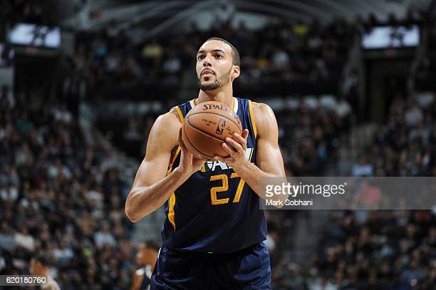Rudy Gobert of the Utah Jazz shoots a free throw against the San Antonio Spurs on November 1 2016 at the ATT Center in San Antonio Texas NOTE TO USER...