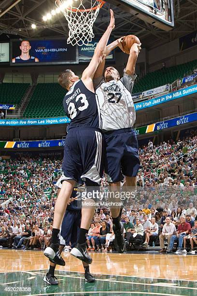 Rudy Gobert of the Utah Jazz shoots against Greg Somogyi during an open scrimmage at Energy Solutions Arena on July 8 2014 in Salt Lake City Utah...