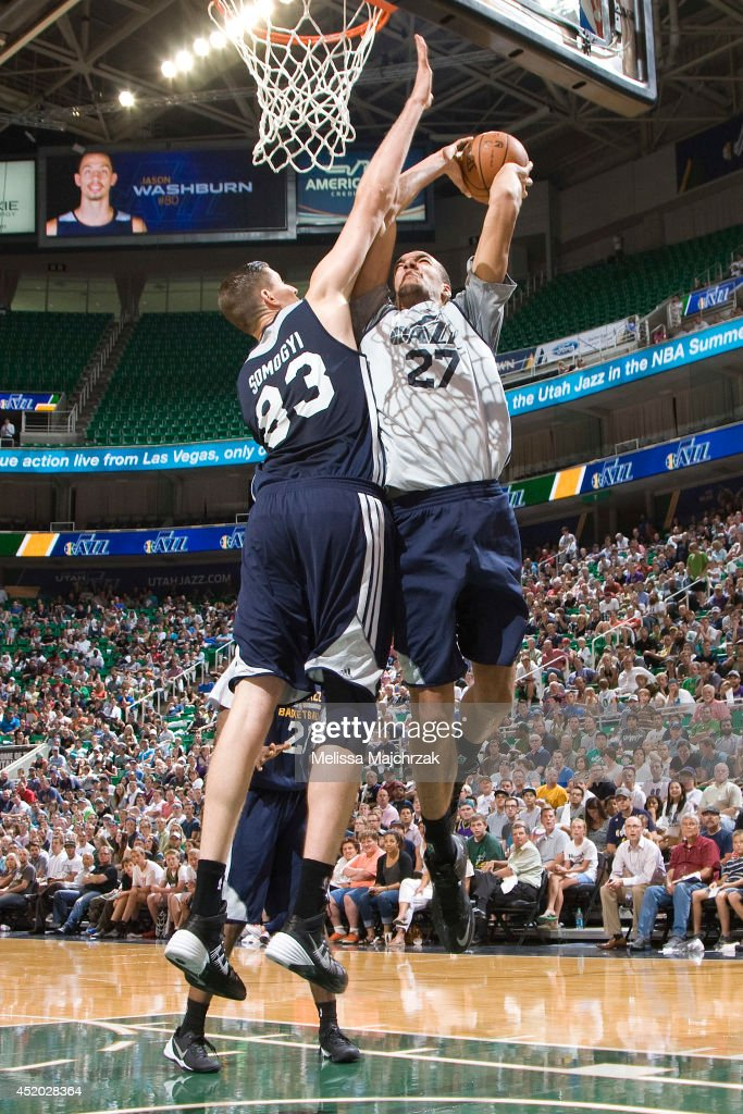 Rudy Gobert #27 of the Utah Jazz shoots against Greg Somogyi #83 during an open scrimmage at Energy Solutions Arena on July 8, 2014 in Salt Lake City, Utah.