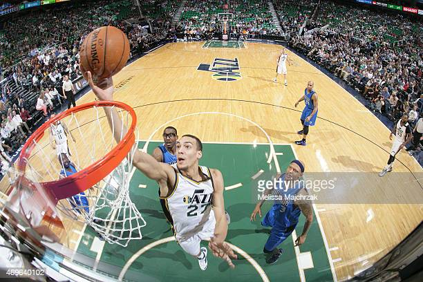 Rudy Gobert of the Utah Jazz shoots the ball against the Dallas Mavericks on April 13 2015 at EnergySolutions Arena in Salt Lake City Utah NOTE TO...