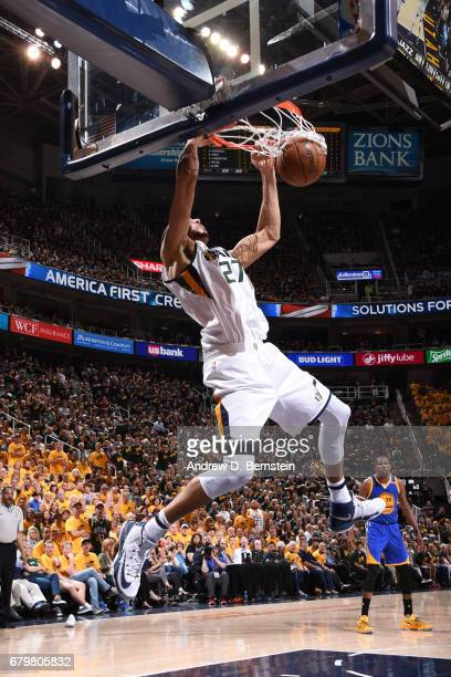 Rudy Gobert of the Utah Jazz shoots the ball against the Golden State Warriors during Game Three of the Western Conference Semifinals of the 2017 NBA...