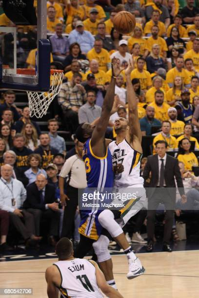 Rudy Gobert of the Utah Jazz shoots the ball against the Golden State Warriors in Game Four of the Western Conference Semifinals of the 2017 NBA...